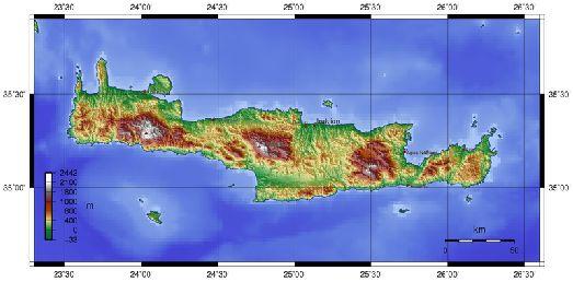 Горные области Крита на географической карте