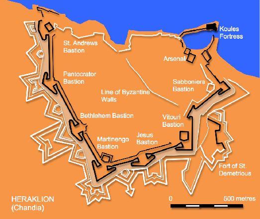 Карта крепости Ираклиона